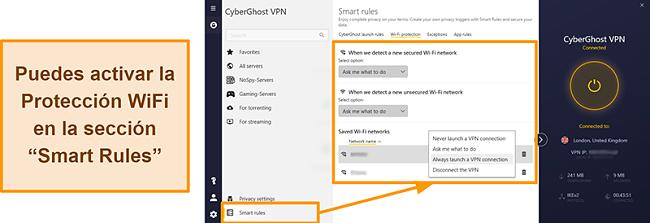 Captura de pantalla de la función de protección WiFi de CyberGhost VPN