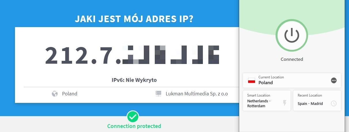 ExpressVPN pomyślnie zmienił mój adres IP