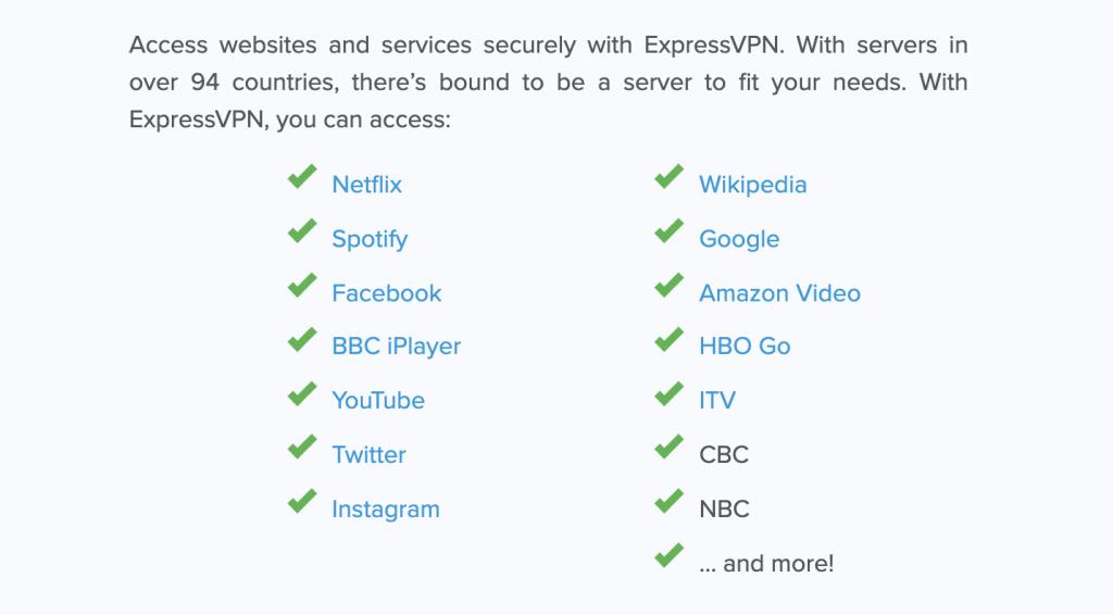 screenshot of a list of sites ExpressVPN can access
