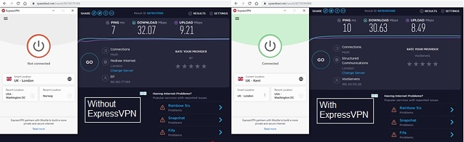 Screenshot of speed test with and without ExpressVPN
