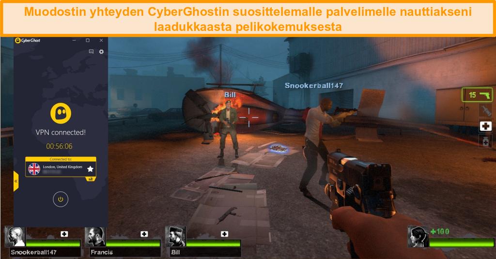 Näyttökuva Left 4 Dead 2 -pelistä, joka pelaa Iso-Britannian palvelimeen yhdistetyn CyberGhostin kanssa