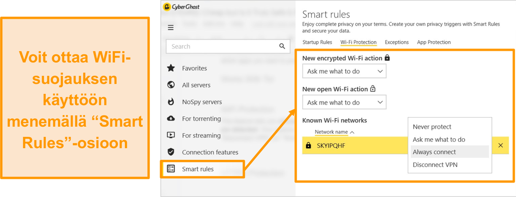 Näyttökuva CyberGhost WiFi -suojausominaisuudesta