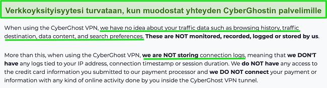 Näyttökuva CyberGhost VPN -tietosuojalausunnosta verkkosivustollaan