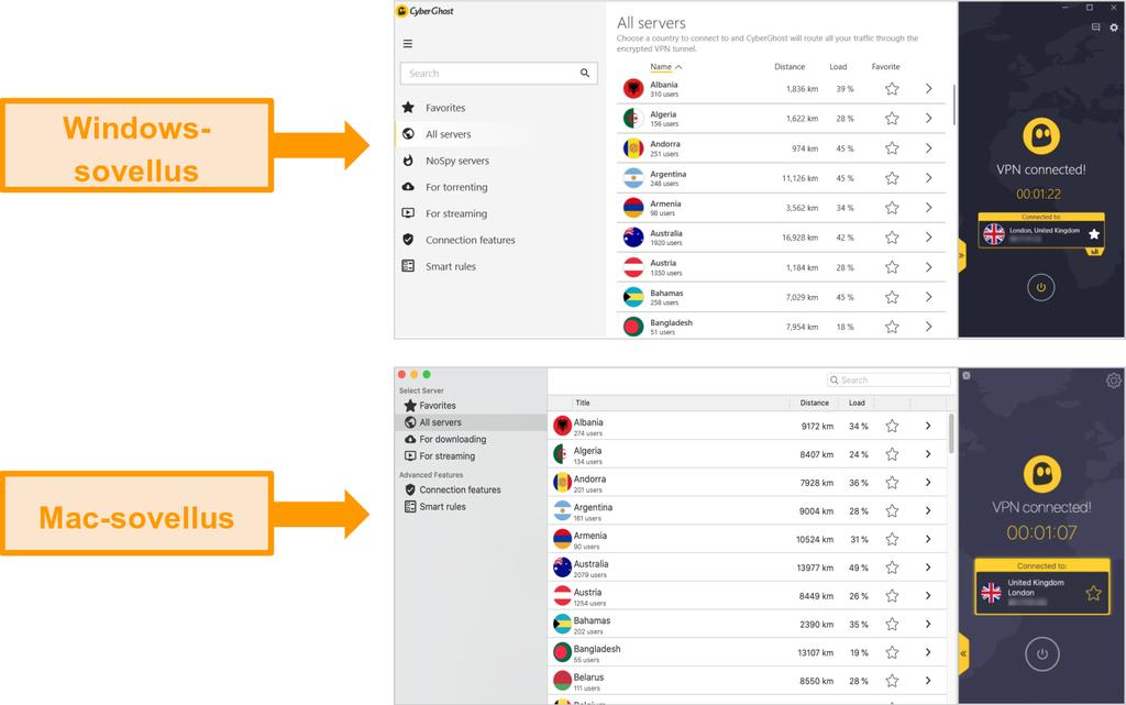 CyberGhost VPN -sovellusten vertailu Windowsille ja Macille