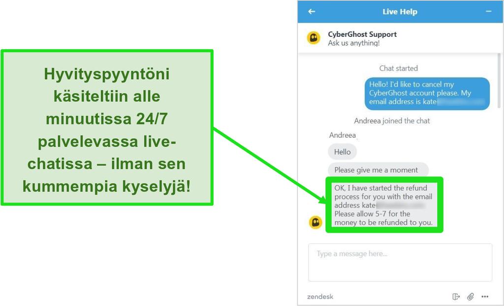 Näyttökuva CyberGhostin asiakastukiedustajasta, joka hyväksyi hyvityksen 45 päivän palautusoikeudella 24/7 live-chatissa