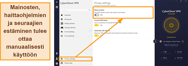 Näyttökuva CyberGhost VPN: n mainoksesta, seurannasta ja haittaohjelmien estosta