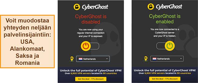 Näyttökuva CyberGhost VPN -selainlaajennuksesta