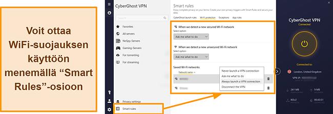 Näyttökuva CyberGhost VPN: n WiFi Protection -ominaisuudesta
