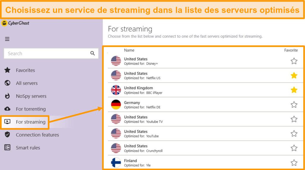 Capture d'écran des serveurs de streaming optimisés de CyberGhost sur l'application Windows