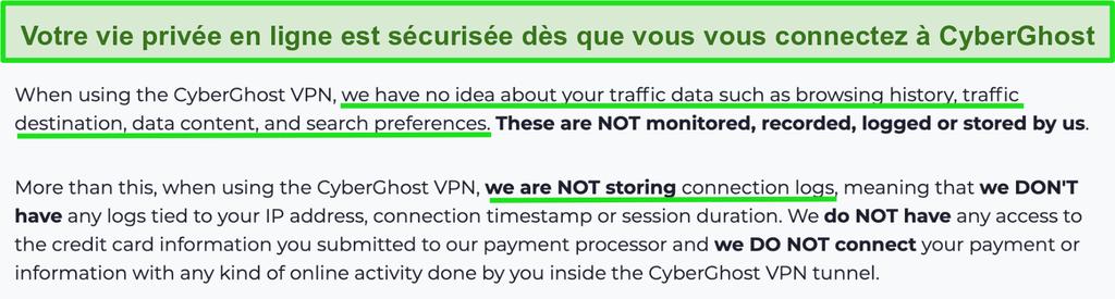Capture d'écran de la déclaration de confidentialité de CyberGhost VPN sur son site Web