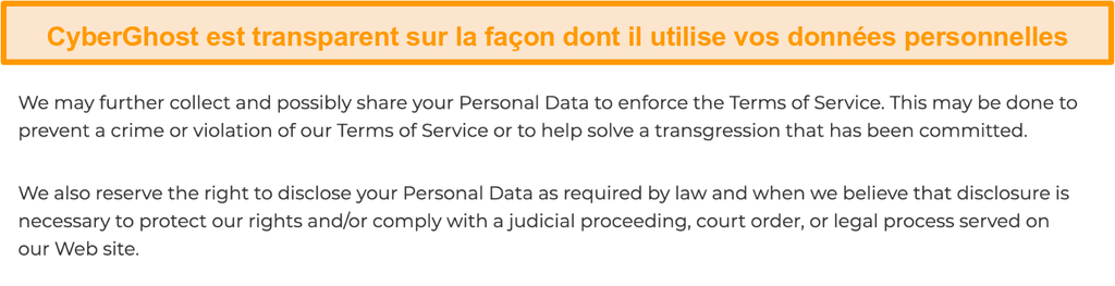 Capture d'écran de la politique de confidentialité de CyberGhost sur son site Web indiquant que le VPN collecte certaines données personnelles