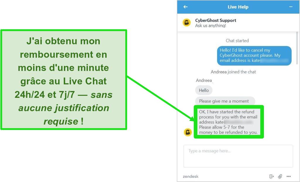 Capture d'écran du représentant du support client de CyberGhost approuvant un remboursement avec la garantie de remboursement de 45 jours sur le chat en direct 24/7