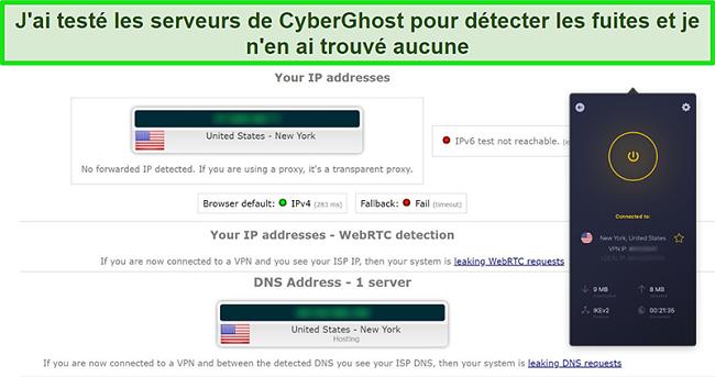 Capture d'écran de CyberGhost VPN connecté à un serveur américain et ayant réussi un test de fuite IP