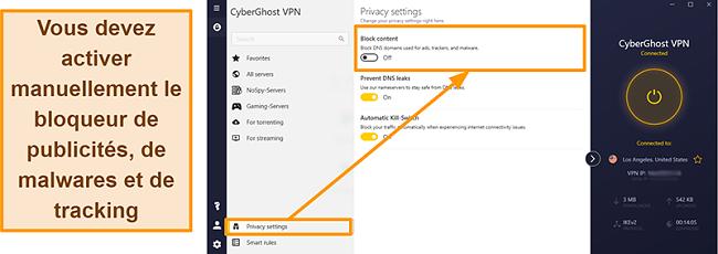 Capture d'écran du bloqueur de publicités, de tracker et de logiciels malveillants de CyberGhost VPN