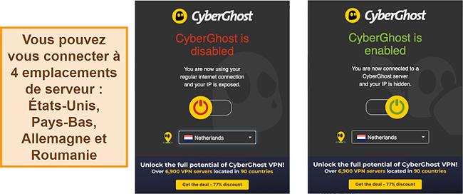 Capture d'écran de l'extension de navigateur CyberGhost VPN