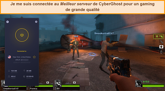 Capture d'écran de l'utilisateur connecté au serveur américain de CyberGhost VPN en jouant en ligne