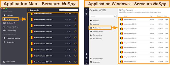 Capture d'écran des serveurs NoSpy de CyberGhost VPN sur l'application Windows contre Mac