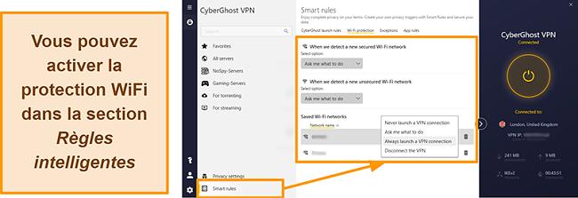 Capture d'écran de la fonction de protection WiFi de CyberGhost VPN
