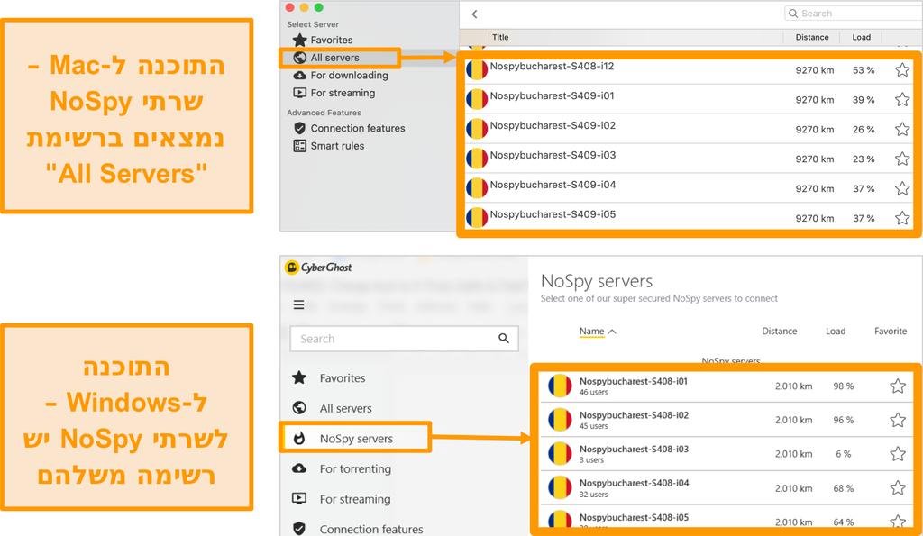 צילום מסך של שרתי NoSpy VPN של CyberGhost באפליקציות Windows ו- Mac