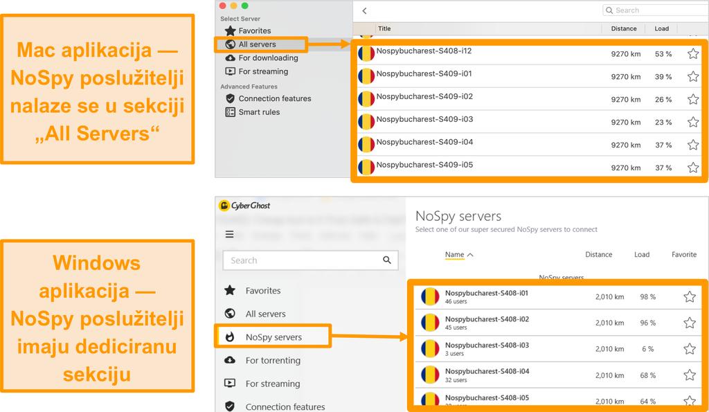 Snimka zaslona CyberGhost VPN NoSpy poslužitelja na Windows i Mac aplikacijama