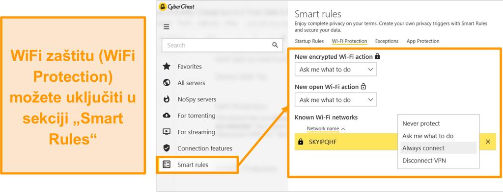 Snimka zaslona značajke zaštite CyberGhost WiFi