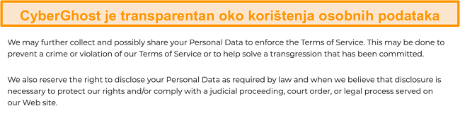 Snimka zaslona politike privatnosti CyberGhost na svojoj web stranici u kojoj se navodi da VPN prikuplja neke osobne podatke