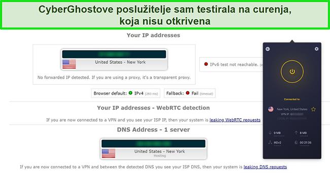 Snimka zaslona CyberGhost VPN-a spojenog na američki poslužitelj i uspješno prolazeći test curenja IP-a