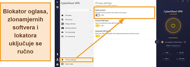 Snimak zaslona CyberGhost VPN-ovog oglasa, alata za praćenje i blokiranja zlonamjernog softvera