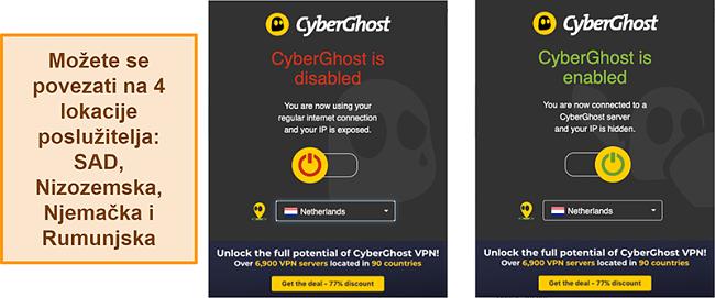 Snimka zaslona proširenja CyberGhost VPN preglednika
