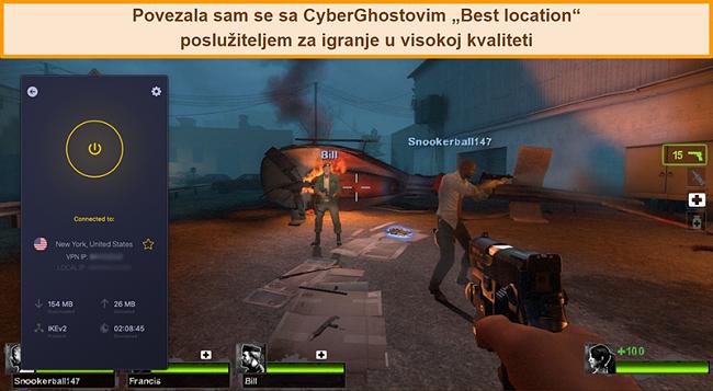 Snimka zaslona korisnika koji je povezan s američkim poslužiteljem CyberGhost VPN-a dok se igrao na mreži