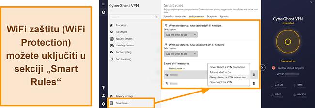 Snimka zaslona značajke WiFi zaštite CyberGhost VPN-a