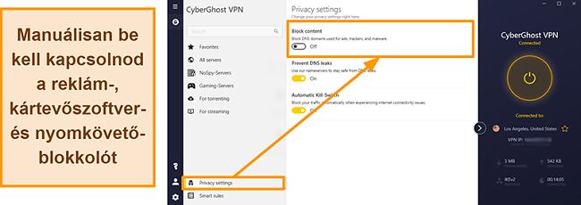 Pillanatkép a CyberGhost VPN hirdetésekről, nyomkövetőkről és rosszindulatú programok blokkolóiról