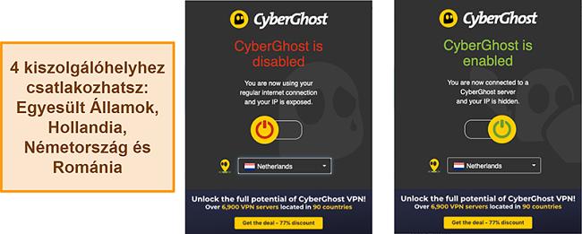 Pillanatkép a CyberGhost VPN böngészőbővítményről