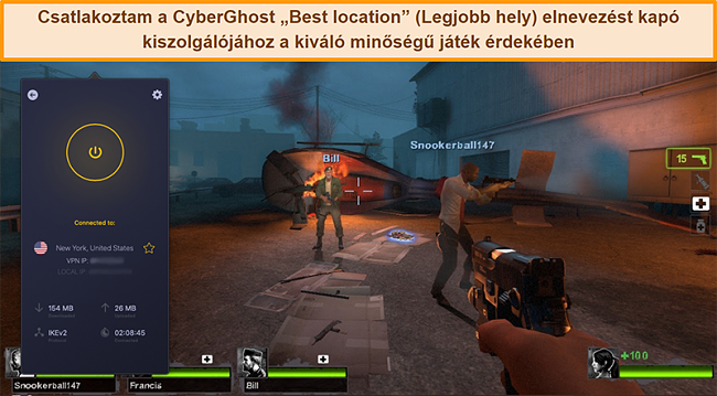 Pillanatkép a CyberGhost VPN amerikai szerveréhez csatlakozó felhasználóról online játék közben