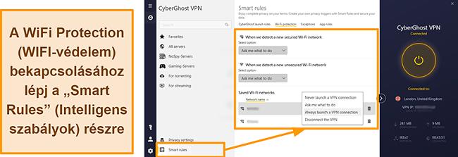 Pillanatkép a CyberGhost VPN WiFi Protection funkciójáról
