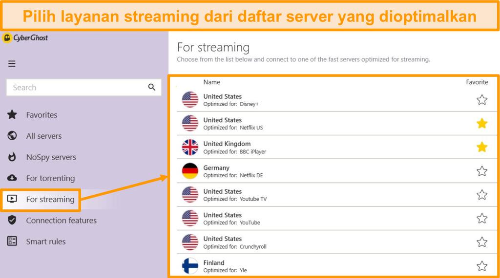 Tangkapan layar dari server streaming yang dioptimalkan dari CyberGhost di aplikasi Windows