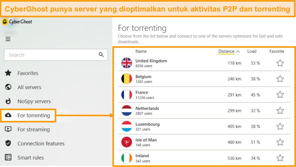 Tangkapan layar menu server torrent yang dioptimalkan CyberGhost di aplikasi Windows