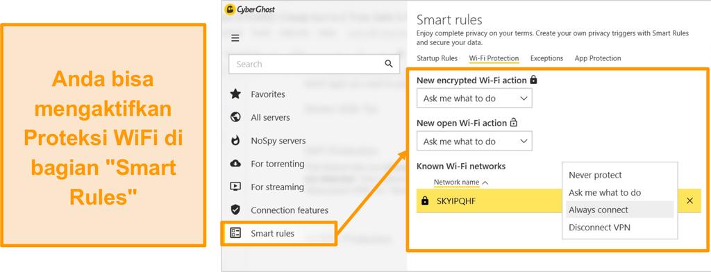 Tangkapan layar dari fitur perlindungan WiFi CyberGhost