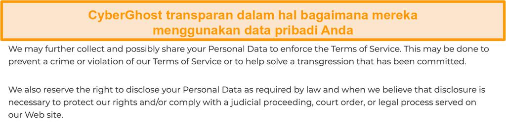 Tangkapan layar dari kebijakan privasi CyberGhost di situs webnya yang menyatakan bahwa VPN memang mengumpulkan beberapa data pribadi
