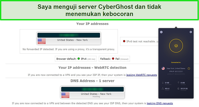 Tangkapan layar dari CyberGhost VPN yang tersambung ke server AS dan berhasil lulus uji kebocoran IP