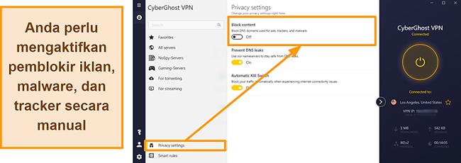 Tangkapan layar dari iklan, pelacak, dan pemblokir malware CyberGhost VPN