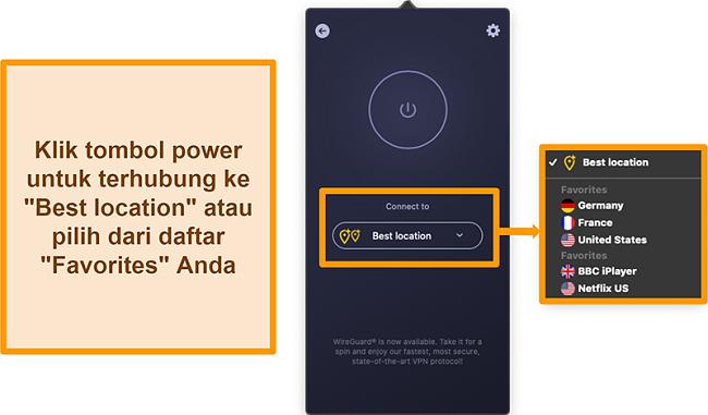 Tangkapan layar fitur Lokasi Terbaik VPN CyberGhost di aplikasi