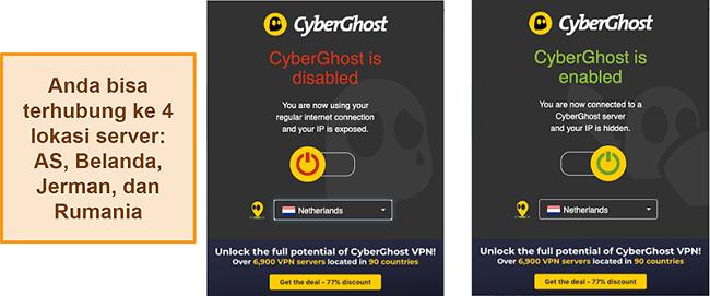 Tangkapan layar dari ekstensi browser CyberGhost VPN