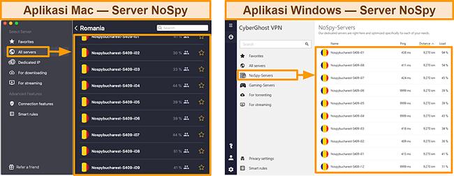Tangkapan layar server NoSpy VPN CyberGhost di aplikasi Windows versus Mac