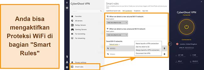Tangkapan layar dari fitur Perlindungan WiFi CyberGhost VPN