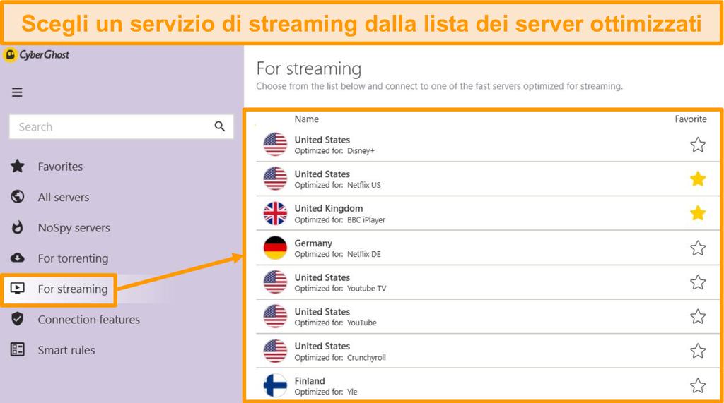 Screenshot dei server di streaming ottimizzati di CyberGhost sull'app di Windows