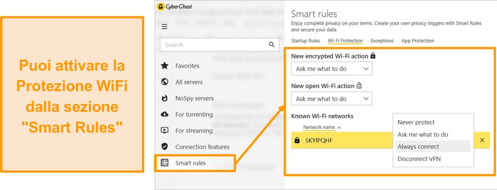 Screenshot della funzione di protezione WiFi di CyberGhost