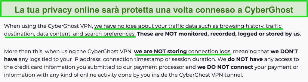 Screenshot della dichiarazione sulla privacy di CyberGhost VPN sul suo sito web