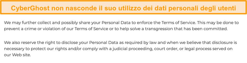Screenshot della politica sulla privacy di CyberGhost sul suo sito Web in cui si afferma che la VPN raccoglie alcuni dati personali