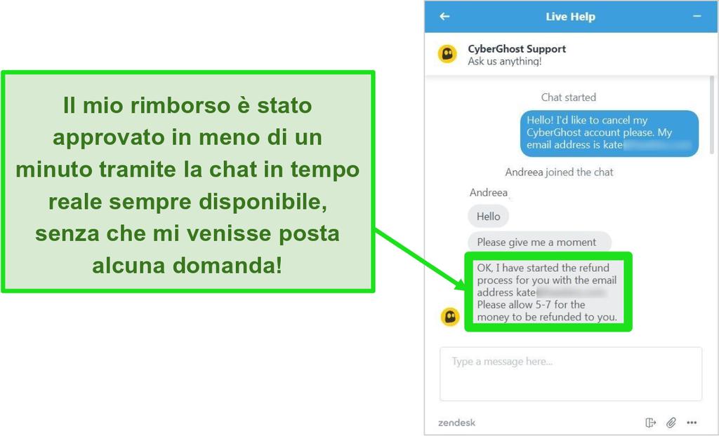Screenshot del rappresentante dell'assistenza clienti di CyberGhost che approva un rimborso con la garanzia di rimborso di 45 giorni tramite chat dal vivo 24 ore su 24, 7 giorni su 7